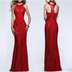 Paillettes Embellished Slim Fashion Women Long Evening Dress - Red