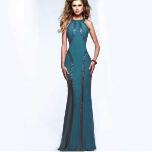 Paillettes Embellished Slim Fashion Women Long Evening Dress - Green