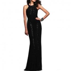 Paillettes Embellished Slim Fashion Women Long Evening Dress - Black