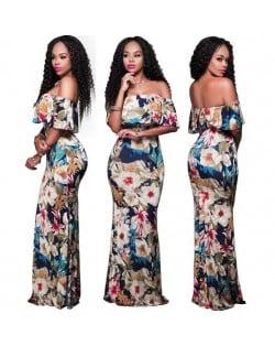Flowers Printing Strapless Fashion Women Long Dress