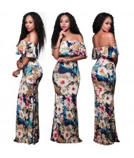 Flowers Printing Strapless Fashion Women Long Dress
