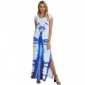 Blue Printing Pattern High Fashion Women Long Dress
