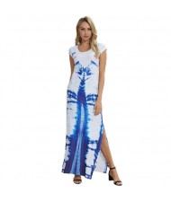 Blue Printing Pattern High Fashion Women Long Dress