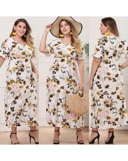 V-neck Spring Flowers Printing Pattern High Fashion Women Long Dress
