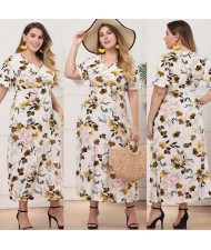 V-neck Spring Flowers Printing Pattern High Fashion Women Long Dress