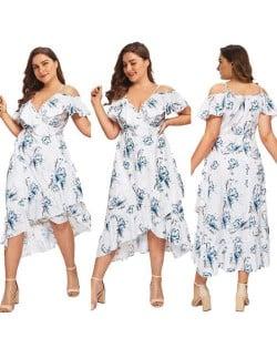 V-neck Blue Flowers Printing Summer Fashion Women Dress