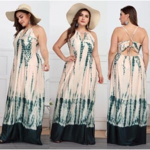 V-neck Straps Green Color Printing Beach Fashion Women Long Dress
