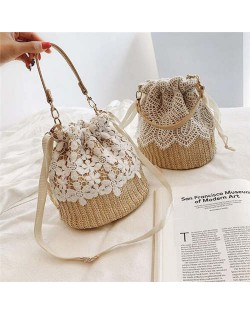 (2 Styles Available) White Lace Attached Elegant Weaving Fashion Women Handbag/ Shoulder Bag
