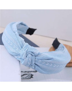 Plain Leaves Printing Bowknot Fashion Cloth Women Hair Hoop - Light Blue