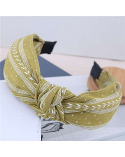 Plain Leaves Printing Bowknot Fashion Cloth Women Hair Hoop - Green