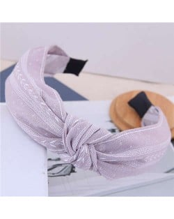 Plain Leaves Printing Bowknot Fashion Cloth Women Hair Hoop - White
