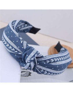 Plain Leaves Printing Bowknot Fashion Cloth Women Hair Hoop - Jeans Blue