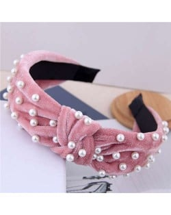 Artificial Pearl Embellished Velvet High Fashion Women Hair Hoop - Pink