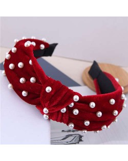 Artificial Pearl Embellished Velvet High Fashion Women Hair Hoop - Red