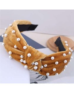 Artificial Pearl Embellished Velvet High Fashion Women Hair Hoop - Brown