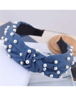 Artificial Pearl Embellished Velvet High Fashion Women Hair Hoop - Jeans Blue