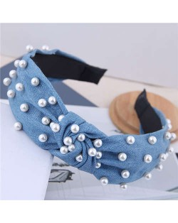 Artificial Pearl Embellished Velvet High Fashion Women Hair Hoop - Light Jeans Blue