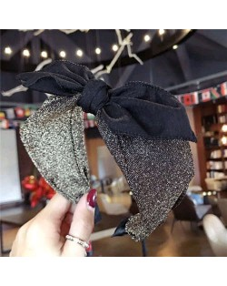 Shining Cloth Fashion Bowknot Design Women Hair Hoop - Golden