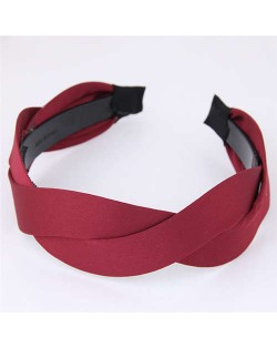Korean Fashion Weaving Style Cloth Women Hair Hoop - Red