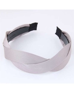 Korean Fashion Weaving Style Cloth Women Hair Hoop - Gray