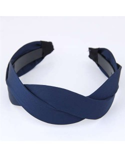 Korean Fashion Weaving Style Cloth Women Hair Hoop - Dark Blue