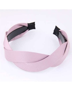 Korean Fashion Weaving Style Cloth Women Hair Hoop - Pink
