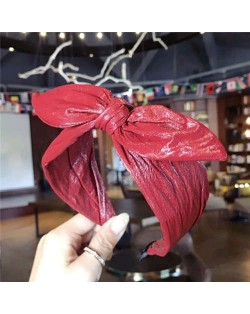 Leather Texture Bowknot Design Women Hair Hoop - Red