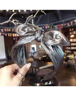 Leather Texture Bowknot Design Women Hair Hoop - Golden