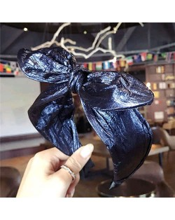 Leather Texture Bowknot Design Women Hair Hoop - Dark Blue