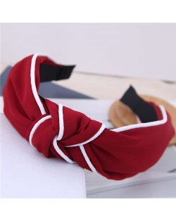 White Stripe Decorated Solid Color Korean Fashion Cloth Women Hair Hoop - Red