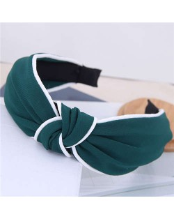 White Stripe Decorated Solid Color Korean Fashion Cloth Women Hair Hoop - Green