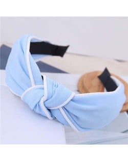 White Stripe Decorated Solid Color Korean Fashion Cloth Women Hair Hoop - Light Blue