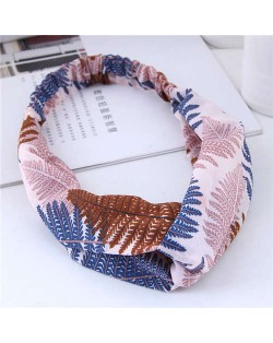 Tropical Trees Printing Women Cloth Hair Band - Blue