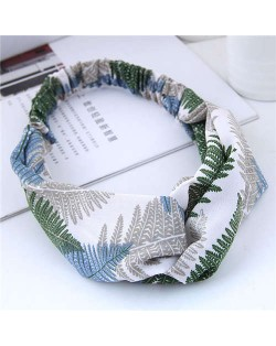 Tropical Trees Printing Women Cloth Hair Band - Green