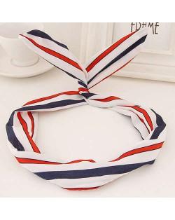 Korean Fashion Rabbit Ears Design Women Cloth Hair Band - Colorful Stripes