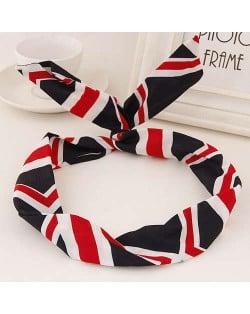 Korean Fashion Rabbit Ears Design Women Cloth Hair Band - U.K. Flag
