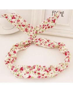 Korean Fashion Rabbit Ears Design Women Cloth Hair Band - Tiny Flowers Pattern