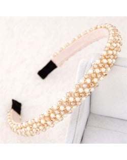 Beads and Crystal Embellished Korean Fashion Women Hair Hoop - Champagne
