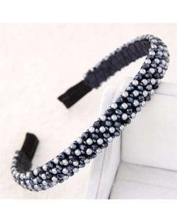 Beads and Crystal Embellished Korean Fashion Women Hair Hoop - Dark Blue