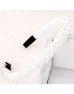 Beads and Crystal Embellished Korean Fashion Women Hair Hoop - White