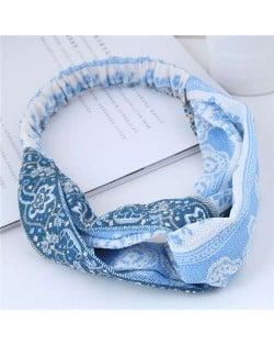 Folk Style Floral Pattern Women Cloth Hair Band - Light Blue