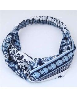 Folk Style Floral Pattern Women Cloth Hair Band - Dark Blue