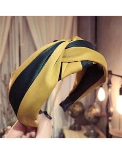 Contrast Color Bowknot Design High Fashion Cloth Women Hair Hoop - Yellow