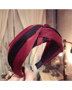 Contrast Color Bowknot Design High Fashion Cloth Women Hair Hoop - Red