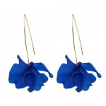 Creative Design High Fashion Dangling Flower Women Earrings - Royal Blue