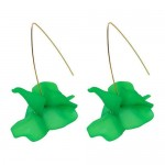 Creative Design High Fashion Dangling Flower Women Earrings - Green