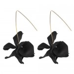 Creative Design High Fashion Dangling Flower Women Earrings - Black