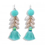Fluffy Ball Tassel and Seashell Combo Design Women Fashion Earrings - Green