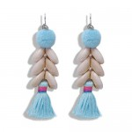 Fluffy Ball Tassel and Seashell Combo Design Women Fashion Earrings - Blue