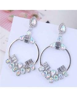 Rhinestone Embellished Dangling Hoop Fashion Women Earrings - Silver